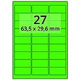 Labelident farbige Etiketten leuchtgrün - 64 x 30 mm -