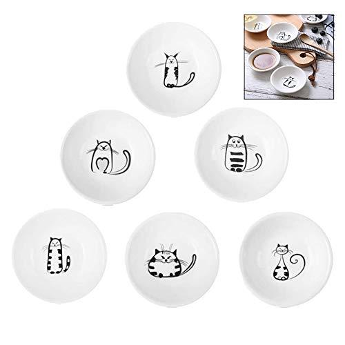 iwobi 6er Pack Nette Katze Keramik Teller,Saucenschälchen,Küche Kleine Platte Geschirr