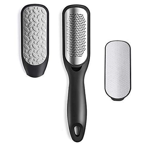Lima de pie para callos de doble cara, limpiador de pies para pies mojados o secos, lima de acero inoxidable (2 en 1 pie y 1 accesorios) (negro)