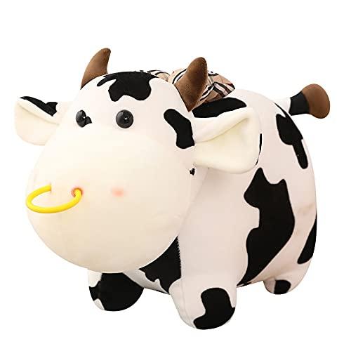 huobeibei Muñeca de Ternera de Vaca rellena Suave, Lindo Animal de Dibujos Animados, Juguetes de Peluche de Ganado para niños, Almohada, Adorable apaciguar, Regalo para niñas, 25cm A