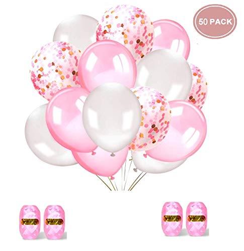 Sinwind Palloncini Confetti Rosa, 60 Pezzi Palloncini in Lattice Compleanno Palloncino Rosa Figura, Palloncini coriandoli Bianchi e Rosa, per Feste rifornimenti Compleanno Matrimonio Battesimo