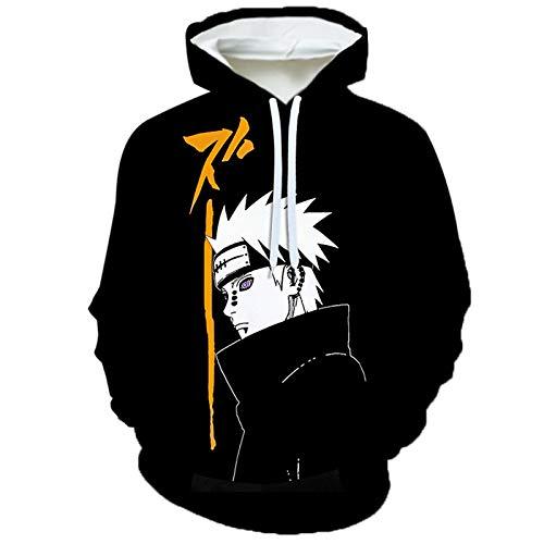 Naruto Sudadera con Capucha 3D Yahiko Estampado Hoodie De Manga Larga Ropa Deportiva Top Sweatshirts para Hombres Mujeres con Bolsillo,X~Large