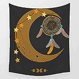 Tapisserie Mehrfarbige Strandtuch für M?nner und Frauen Elegante Cartoon Feder Windspiel Halbmond Wandbehang Hippie Picknick Strandtuch Tischdecke-150x130cm
