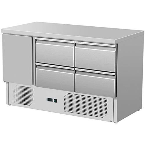 ZORRO - Kühltisch ZS 903 4D - 1 Tür - 4 Schubladen - Gastro Saladette mit Arbeitsfläche - R600A - Digitales Thermostat