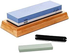 SKY LIGHT Knife Sharpening Stone, Safe Knife Sharpening Set, Whetstone 2 Side Grit 1000/6000 Waterstone, Straight & Serrated Kitchen Knife Sharpener Kit with Nonslip Bamboo Base & Angle Guide