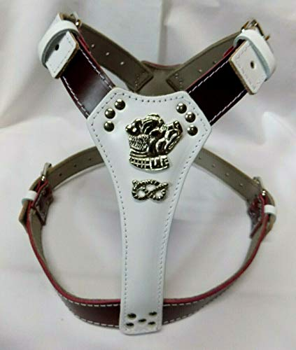 M&D Hundegeschirr aus Leder, zweifarbig, Motiv Staffordshire Bullterrier Kopf und Knoten, groß, Weiß/Kirschrot