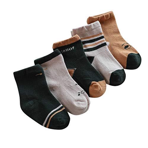 Fenverk Baby Schuhe Strickschuhe Erstlingsschuhe Mäuse das kleine Geschenk Unisex Little Dot Socken Babysocken 5 Paare Baby Antirutsch Socken Winter Antirutsch Socken (0-8 Jahre)