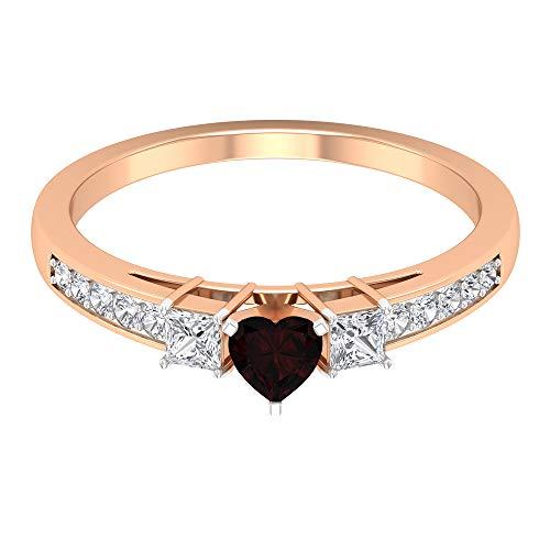 Rosec Jewels - Anillo de granate y diamante 3/4 quilates, anillo de tres piedras, solitario con piedras laterales (granate de 4 mm de corte corazón), 14K Oro rosa, Size:EU 49