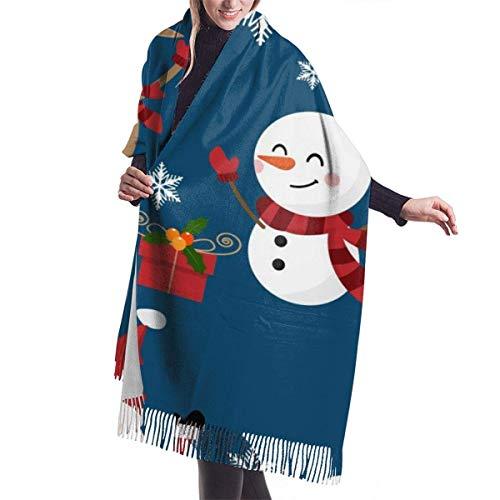 Giles John Winter Schal Damen Warm Baumwolle Weihnachtsmann Schneemann Schneeflocken Rentier Muster Pashmina Schals mit Quasten/Fransen