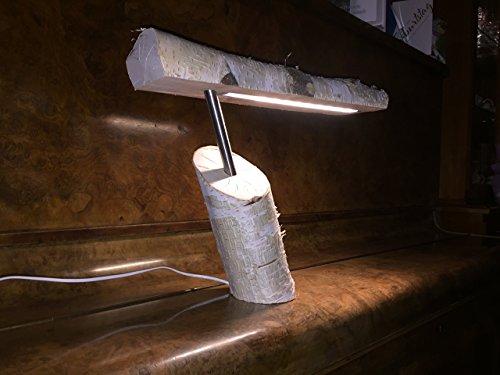 BeechWorks LED Tischlampe Birke natur mit Edelstahl, warmweiß, 150 lm, Touch-Schalter