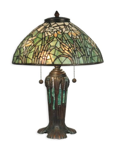 Dale Tiffany TT90429 Tiffany Table Lamp, Antique Bronze Verde Green and Art Glass Shade