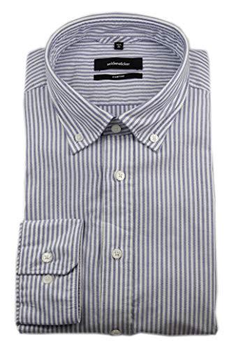 Seidensticker Comfort Hemd Langarm Button Down Kragen Streifen blau Größe 44