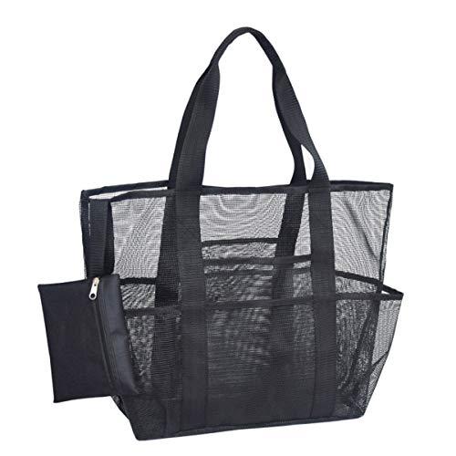 Rehomy Bolsa de playa de malla, plegable, bolsa de almacenamiento de comestibles con bolsillos para acampar, viajes, playa