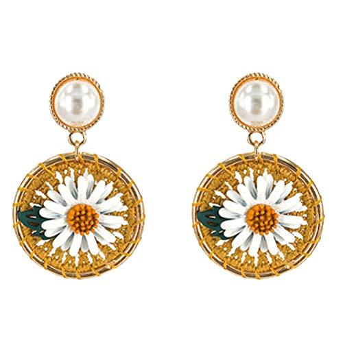 ABOOFAN 1 Pair Daisy Flower Eardrop Fashion Fairy Earring Ornament Simple Ear Jewelry Decor ( Yellow Flower )