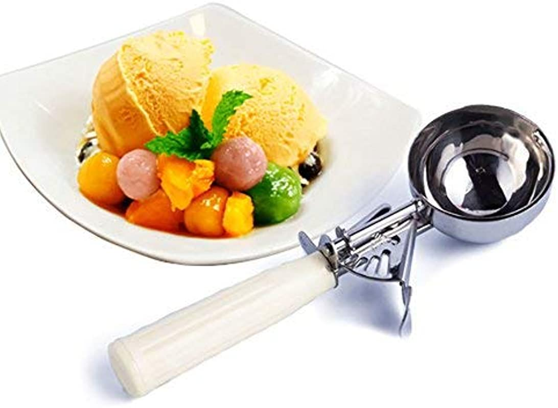 Ice Cream Scoop YanQxIzbiu Stainless Steel Ice Cream Dessert Fruits Scoop Spoon Plastic Handle Kitchen Tool White