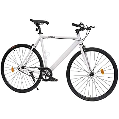 Outroad Urban City Road Bike Single-Speed Commuter Bicycle Fixie Track Bike with 700 x 25C Tire, White