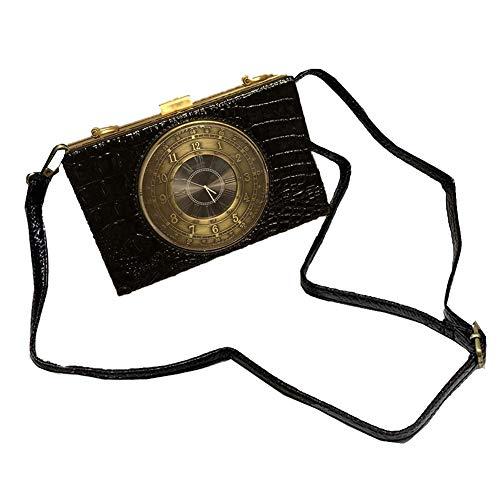 Real Working Clock Shoulderbags Creative Crocodile Pattern Small Bag Female Diagonal Small Bags Real Clock Purse and Handbags Womens Steampunk Style Handbag (Black)