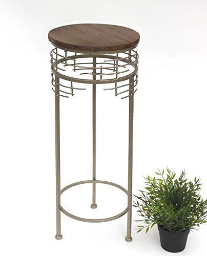 DanDiBo Blumenhocker Metall Rund Silbergrau 68 cm Blumenständer 21288-M Beistelltisch Pflanzenständer Holzablage Blumensäule