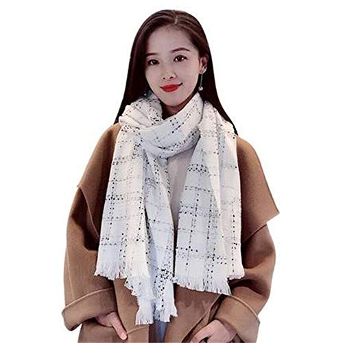 RU Schal Weiblicher Herbst und Winter des warmen Duftes des Karierten Schals des kleinen Duftschals Wilder verdickender nachgemachter Kaschmirschal, weiß