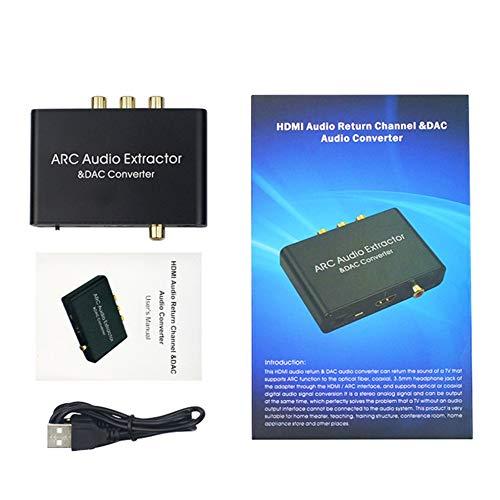 #N/V Adaptador de arco de 192 khz compatible con HDMI, convertidor digital a analógico, convertidor Dac Spdif coaxial Rca 3,5 mm de salida convertidor