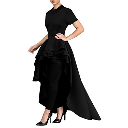 Goddessvan Women Short Sleeve High Low Peplum Dress Bodycon Party Club Asymmetrical Dress (M, Black)