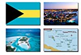 REFRIGERATOR MAGNET Set of 4 Bahamas Fridge Magnets – Bahamas Flag, Bahamas MAP, Bahamas Attractions