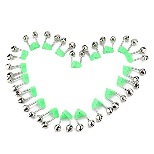 BB Hapeayou Fishing Bells,20 Pcs Loud Sound Fishing Rod Bell with Plastic Clip Style and Dual Metal for Rods (Green and Silver Tone)