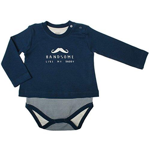 Baby Corner Baby Jungen Body-Shirt Langarm (= Body und Shirt in einem) Little Man in blau Größe 74-80 (9-12 Monate)