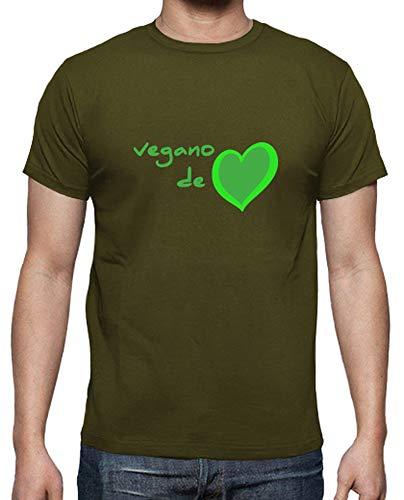 latostadora - Camiseta Vegano de Corazn para Hombre Army M