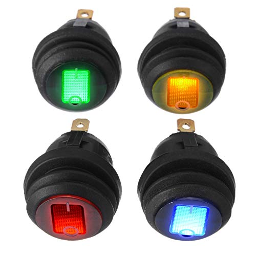 4pcs 1 LED 2V 12A Barco de coche ON/OFF 3-PIN ESPALDA Interruptor de rockero redondo impermeable pequeño interruptor de rockero