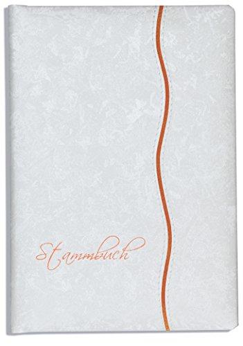 Stammbuch der Familie -Mana-, Glanzmaterial, marmoriert, Weiss, apricot, Klemmtechnik, Klemmschiene, Stammbücher, Familienstammbuch