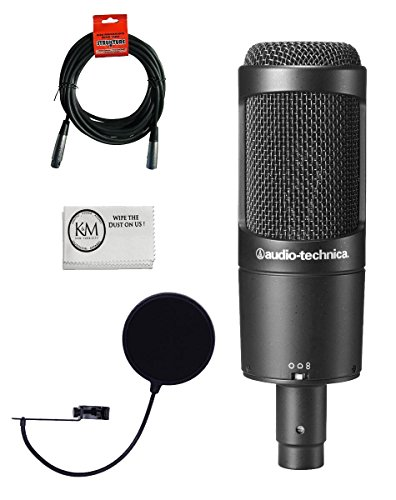 Audio-Technica AT2050 Multi-Pattern Condenser Microphone Bundle with Pop Filter,...