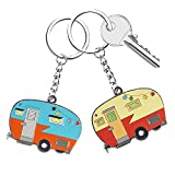 Camper Keychain Happy RV Camper Keyring RV Keychain Couples Keychain Set Camping Gifts for Men Women Teenager Camper Lover Travel Trailers Vacation Couples Jewelry Gift Camping Accessories 2 Pack