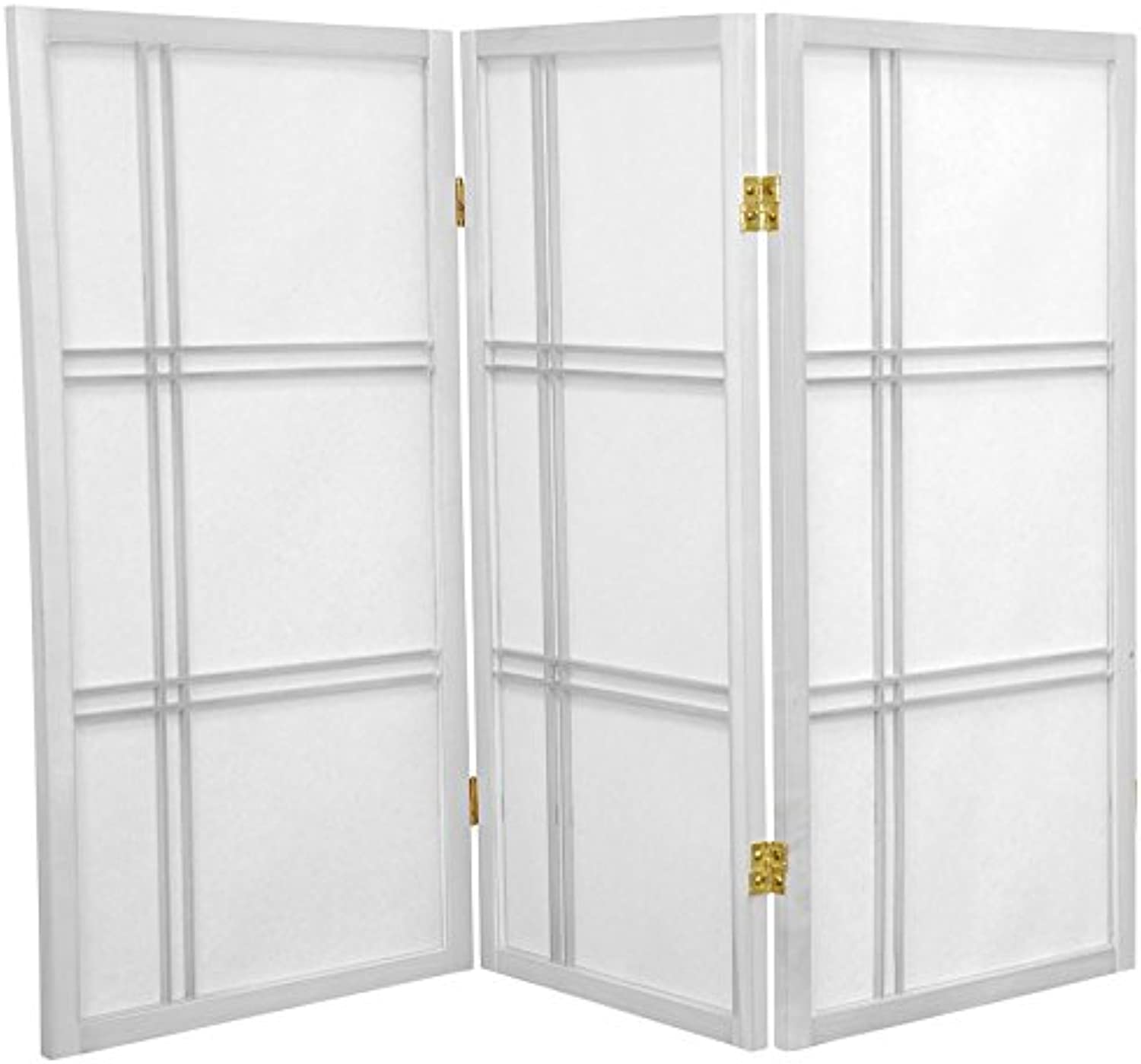 Oriental Furniture Half Size, 3-Feet Small Cross Hatch Japanese Privacy Screen Room Divider, 3 Panel White