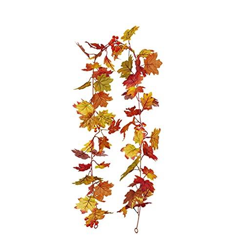tanbea-DE Herbstblatt Girlande, 5,7 Fuß Girlande für Garten, Herbst Thanksgiving Ahornblätter für Kamin Haustür Outdoor Indoor Home Backdrop Dekorationen