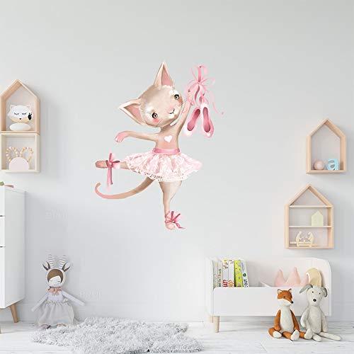 Kswlkj Tanzendes Kätzchen Wandtattoo für, als Wanddekoration für Schlafzimmer Kinderzimmer Wand Aufkleber | Deko Wandtattoo für Wand Fenster Möbel/Schrank Küche Bad Fenster Flur