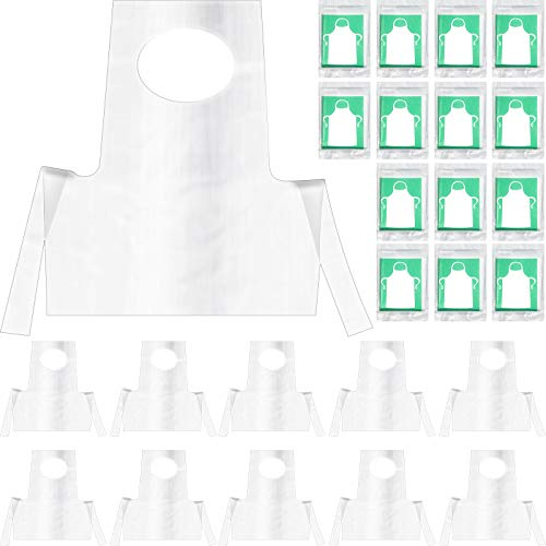 Disposable Aprons Plastic Aprons for Kids Small Clear Polythene Waterproof (100)