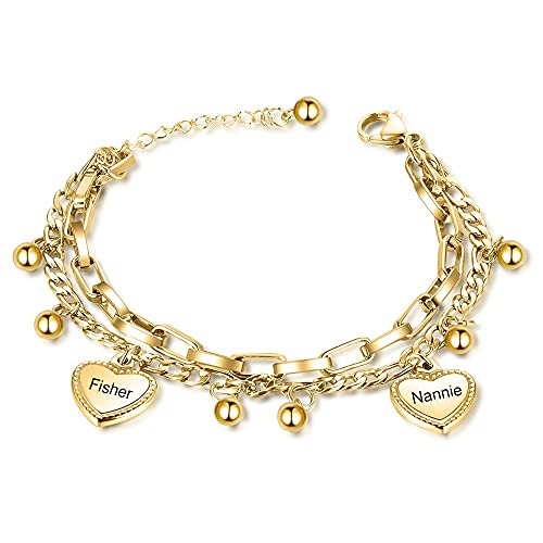 DHDHWL Pulsera Personalizado Perlas Personalizadas Pulsera de Encanto de corazón Personalizar Nombre Doble Cadena Pulseras para Mujeres Regalo de Acero Inoxidable (Color : Gold Color)