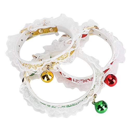 YINBINGkj 3 Collares Navideños para Mascotas Decoración Exquisita Campanas Collares para Gatos Perros
