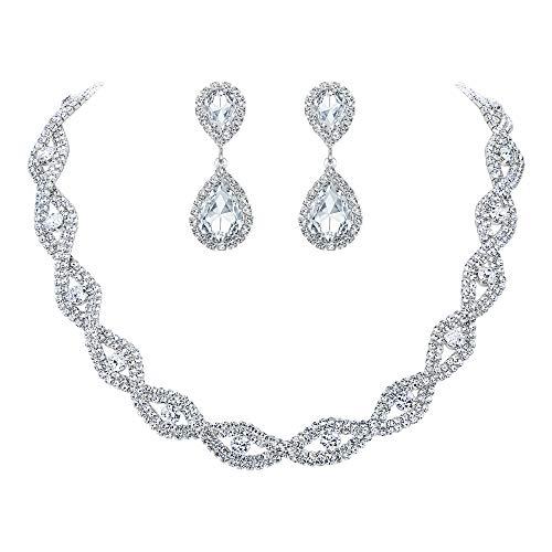 Clearine Femme Parure Mariage Bijoux Vintage Fastueux Collier Boucles d'oreilles Ensemble Cristal Autrichien Feuilles Goutte d'eau