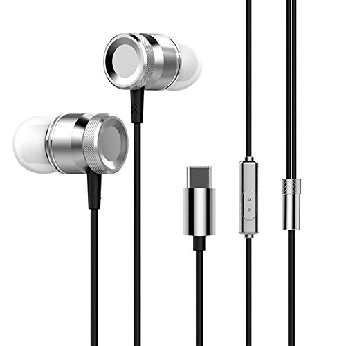 Docooler USB Type-C In-Ear Wired Metal Earphone Headset USB-C Earphone Earbuds In-Line Control w/Mic for 6 Note 3 Mix 2 Letv LeEco Le 2 3 Smartisan Pro Pro 2 Gray