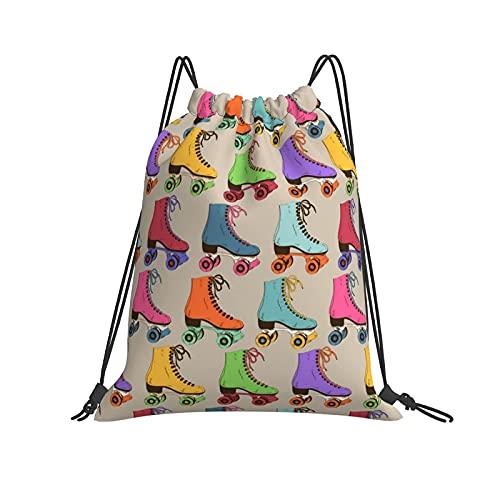 Drawstring Bag Retro Colorful Roller Skates Drawstring Backpack Bag Anime Unique Design Sport Gym Sackpack
