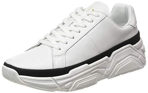 Armani Exchange Mens Moscow Volume Running Sneaker, Off White+Black,44 EU