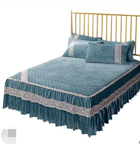 Winter suède katoenen bed rok kristal kasjmier flanel flanel single double warm dekbed dekbed groen 220X200cm