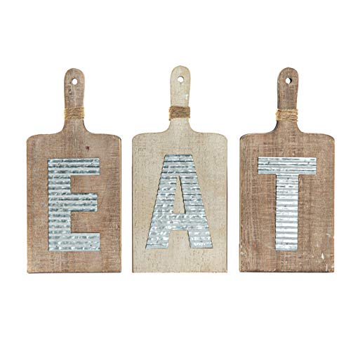 """EMAX HOME Large EAT Wood Kitchen Sign for Kitchen Wall Decor,Rustic Farmhouse Kitchen Wall Art,Vintage Wooden Plaque with Eat Letters for Kitchen,Distressed Finish 15"""" x 7"""" Each"""