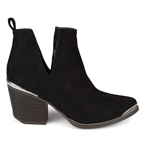 Brinley Co. Womens Faux Suede Stacked Wood Heel Metal Detail Side Slit Booties Black, 10 Regular US