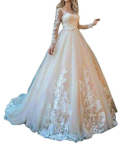 ONLYFINE Women's Vintage Elegant Off Shoulder Ball Gowns Wedding Dresses Lace Applique Bridal Gown with Sleeves Style4 Champagne 10