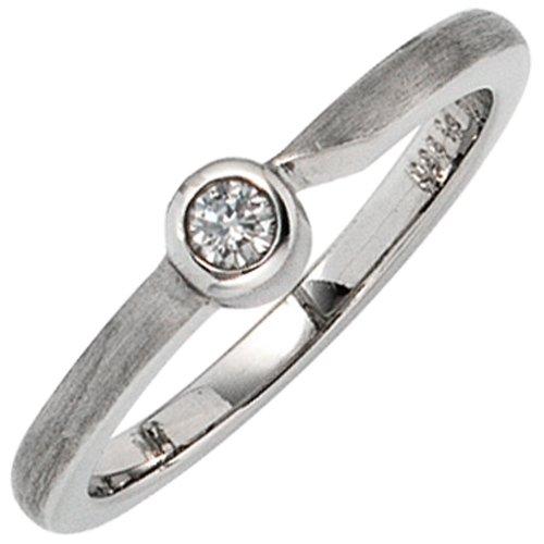 Damen Ring 950 Paltin mattiert 1 Diamant Brillant 0,08 ct. Platinring - 56
