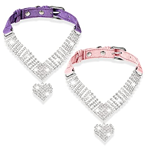 2 Pieces Rhinestone Cat Collar Bling Pet Collars Simulation Diamond Cat Collar Breakaway Heart Shaped Crystal Dog Collar Pet Necklaces Small Cats Puppy Party Wedding Collar Accessory, Pink, Purple