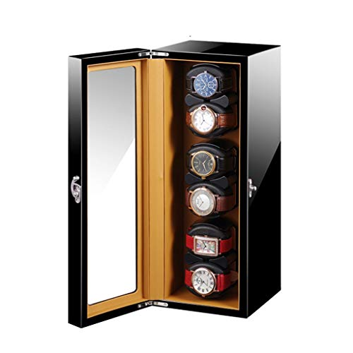 LSRRYD Relojes Cajas Giratorias Madera Caja Automaticos Giratoria Enrollador Reloj 6+0 Motor Rotativo Silencioso Japón Pintura Piano Cuero PU Organizador Casos 5 Modo (Color : Black)